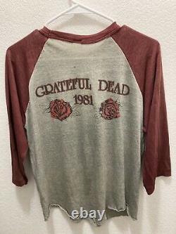 1981 Grateful Dead Raglan Shirt M/L BLUE ROSE KELLEY MOUSE RARE