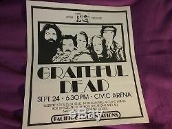 Grateful Dead 1973 Pittsburgh Wktq 19 X 17 Poster Lit Creases Rare Clean Vtg Htf