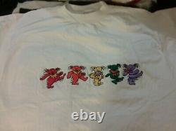 Grateful Dead 80s 1st Dancing Bears Embroidered 1 Stich Shirt 44 Unworn Rare Vtg