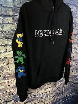 Grateful Dead Dancing Bears Logo Hoodie Black Large Rare Free Shippingmust See