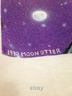 Grateful Dead Dire Wolf 1990 GDM Art MOON OTTER Rare Liquid Blue Vintage Shirt