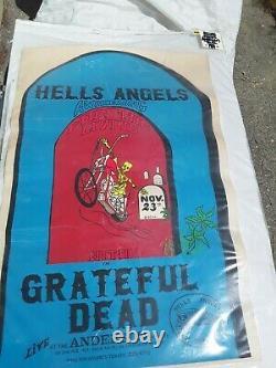 Grateful Dead Hells Angels 70 Nyc 24 X 33.5 Poster Vg Rare 4 Tear Creases Vtg