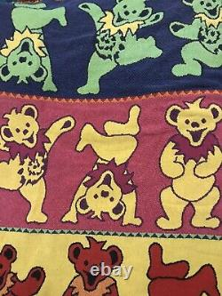 Grateful Dead Rare Dancing Bears Knit Woven Throw Blanket Tapestry 66x47