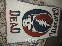 Grateful Dead Steal Your Face Very Rare Vintage 46x67 Hvy Blanket/throw Nib