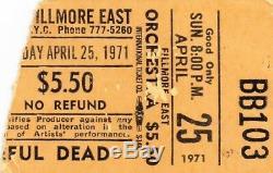 Grateful Dead Ticket Stub 04-25-1971 Fillmore East Rare