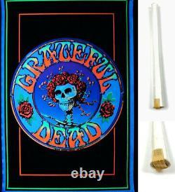 NOS Vtg Grateful Dead SKULL N ROSES RARE 35x23 Blacklight Poster NEW OLDSTOCK