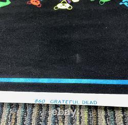 Original Vtg Grateful Dead Dancing Spiral Bears RARE 35x23 Blacklight Poster