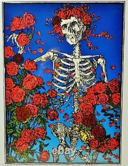 RARE Stanley Mouse Hand-Printed & Signed Skeleton Roses Serigraph Grateful Dead