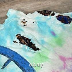 Rare 1990 Vintage GRATEFUL DEAD BERTHA Liquid Blue Custom Sashiko Mended Tee