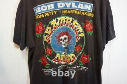 Rare 80'S Vintage Bob Dylan Grateful Dead 1986 Tour T-Shirt Rock Band Black Xl