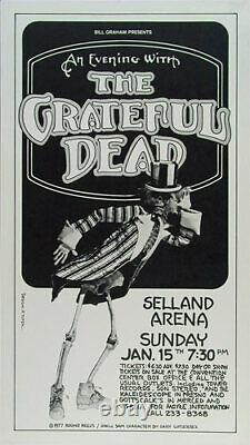 Rare Original Grateful Dead 1978 Selland Arena Fresno Poster signed Randy Tuten