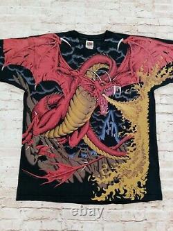 Rare Vintage 1993 Liquid Blue Dungeons Dragons Grateful Dead AOP T-shirt XL