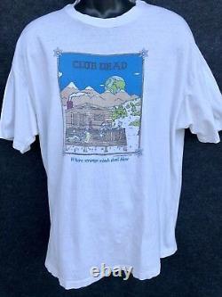 Rare Vtg 1985 GRATEFUL DEAD Men XL White T Shirt Club Dead Strange Winds Hey Now
