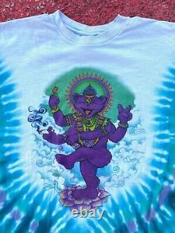 VTG Grateful Dead Psychedelic Dancing Bear Ganesh Buddha Tie Dye Shirt RARE XL