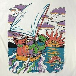 Vintage 90s Grateful Dead T Shirt L Bears Sailing Boat Single Stitch 1995 RARE