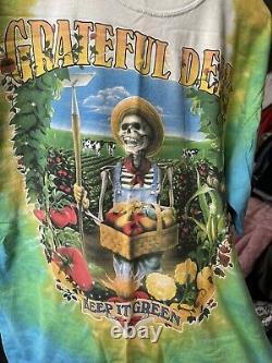 Vintage Liquid Blue 1998 Grateful Dead Keep It Green Tie Dye Band TEE EUC RARE